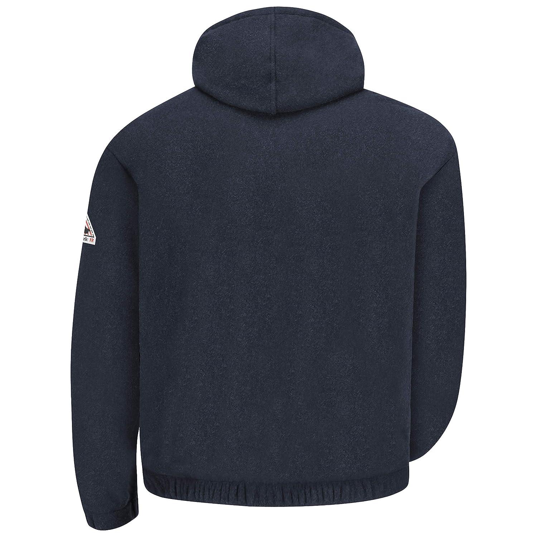 Medium Bulwark Flame Resistant 8 oz Modacrylic Fleece Regular Zip-Front Hooded Sweatshirt with Drawstring Closure Navy