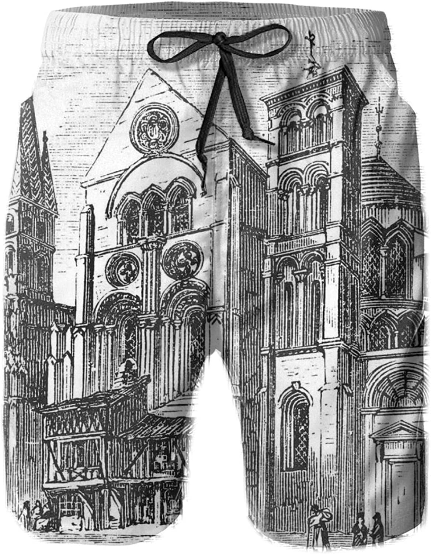 Old Engraved Art Drawing Illustration of Notre-Dame-En-Vaux Exterior Print Mens Swim Shorts Casual Workout Short Pants Drawstring Beach Shorts,XXL