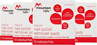 Mountain Falls Regular Nail Polish Remover Pads with Vitamin E and Panthenol for Natural Nails, Compare to Cutex, 10 Count (Pack of 4)