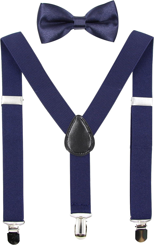 Hanerdun Kids Suspenders Bowtie Sets Adjustable Suspender Set for Boys and Girls