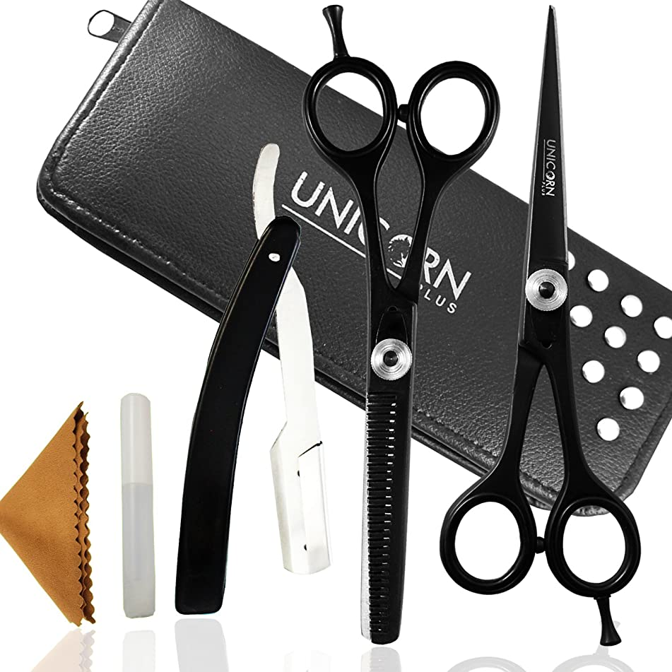Hair Scissors Set with Hair Cutting Scissors and Hair Thinning for Professional Barber and Home Styling, 6 inches Durable Stainless Steel Hair Shears Mustache Beard Scissors Plus BONUS Razor