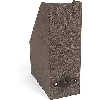 Bigso Estelle Canvas Fiberboard Upright Magazine Storage Box, 12.6 x 4.5 x 9.8 in, Dark Brown