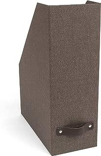 Bigso Estelle Canvas Paper Laminate Magazine File Storage Box, Dark Brown