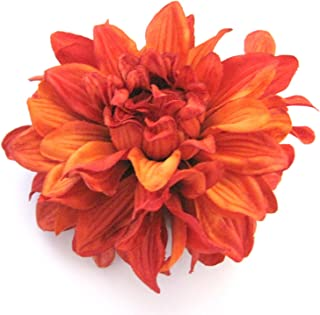 4.5 Rust Orange Dahlia Silk Flower Brooch Pin