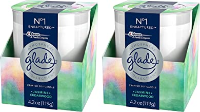 Glade Scented Candle - Atmosphere Collection - No 1 Enraptured - Jasmine & Cedarwood - Net Wt. 4.2 OZ (119 g) Per Candle - Pack of 2 Candles