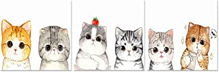 Natural art Cute Orange and Grey Cat Animals Photos to Prints Paintings on Canvas Wooden Framed Ready to Hang 12×12in×3 (12x12inx3)