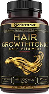 Hair Growthtonic™ Hair Growth Vitamin for Women Men Hair Skin Nails Vitamins for Healthier Stronger Hair - 90 Capsules with Biotin & Keratin.