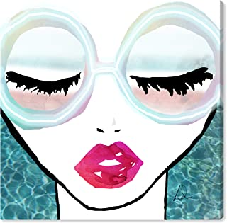 The Oliver Gal Artist Co. Fashion and Glam Wall Art Canvas Prints 'Ready for The Water Neon' Home Décor, 43 x 43, Blue, Pink