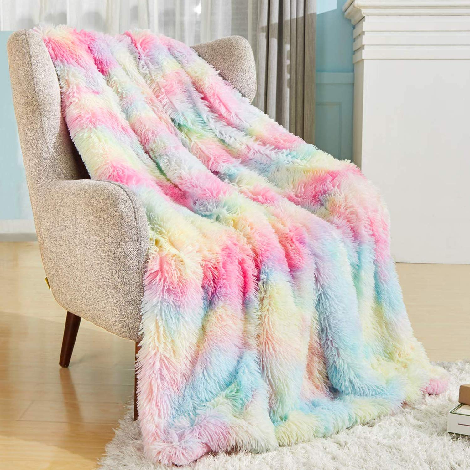 """Bobor Shaggy Longfur Faux Fur Throw Blanket, Super Soft Fuzzy Sherpa Fleece Microfiber Blanket, Cozy Plush Reversible Blanket for Couch Bed Chair Birthday Party Photo Props (Rainbow, 51""""x63"""")"""