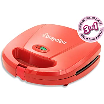 Buy Brayden Furo D30 750 W Non Stick Sandwich Maker With Detachable Plates 3 In 1 Function Red Online At Low Prices In India Amazon In