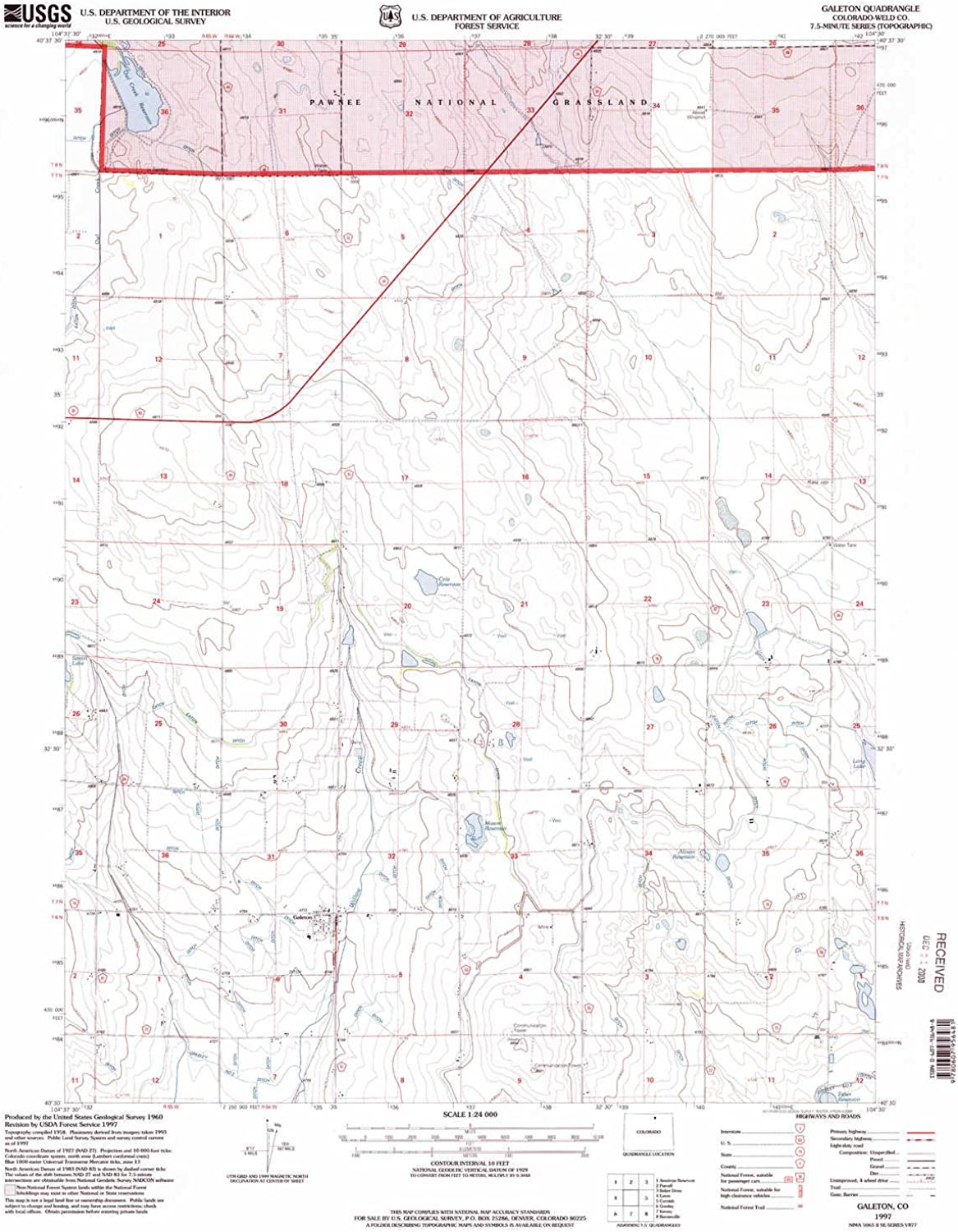 Galeton CO topo map, 1 24000 Scale, 7.5 X 7.5 Minute, Historical, 1997, Updated 2000, 26.7 x 21.9 in