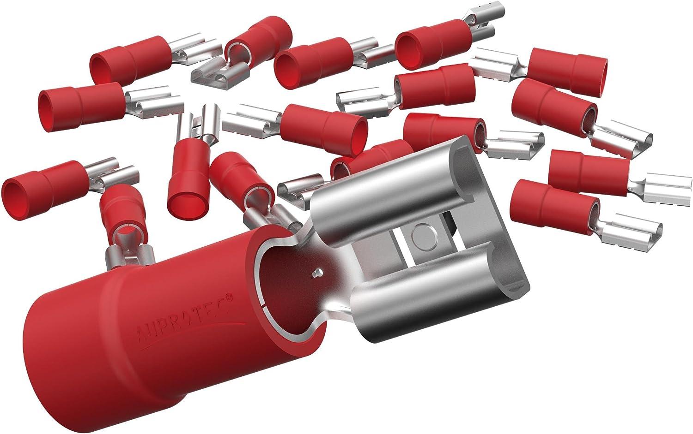 Auprotec 50x Flachsteckhülsen 0 5 1 5 Mm Rot Elektronik