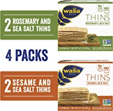 Wasa Thins Flatbread Crackers Variety 4 Pack, Rosemary & Sea Salt (Pack Of 2) & Sesame & Sea Salt (Pack Of 2), No Saturate...