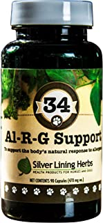 Al-r-g Canine Allergy Support | 12 Natural Herbs To Boost A Dogs Healthy, Normal and Natural Response To Allergens | Natural, Safe, Effective | 90 Capsules | Made In USA By Silver Lining Herbs