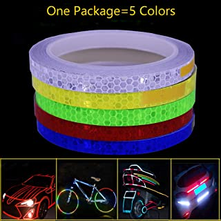 LiXiongBao 5 Colors Safety Reflective Warning Lighting Sticker Adhesive Tape Roll Strip for Beautify Bicycle Bike Car Motorcycle Self-Adhesive DIY Decoration Rim Decoration