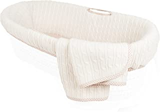 Tadpoles Cable Knit Moses Basket Bedding Only, Natural
