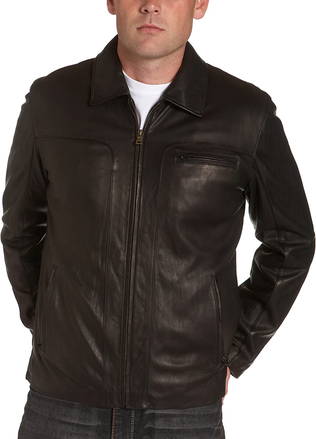 Cole Haan Men's Washed Lamb T Front Jacket