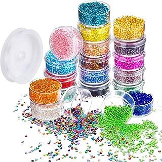 16000 Piezas de Abalorio de Semilla de Cristal 20 Colores 2 mm Cuentas de Potro Forradas Plateadas Abalorios Espaciadores Pequeños en Caja de Contenedor con 18 m de Hilo de Cristal