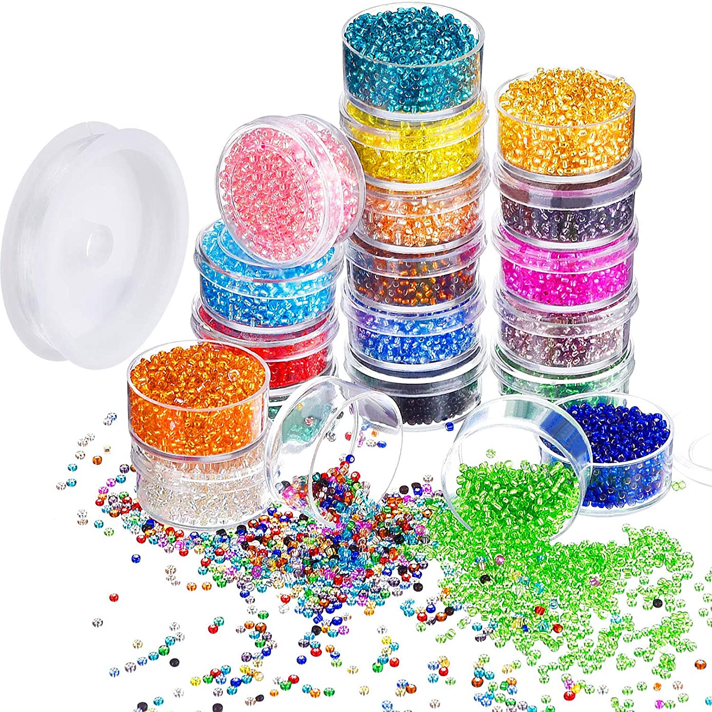 Bememo 16000 Pieces Glass Seed Beads 20 Colors 2 mm Silver Lined Pony Beads Tiny Spacer Beads in Container Box with 18 m Elastic Crystal String Cord