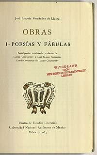 Obras I - Poesias y Fabulas (Nueva Biblioteca Mexicana 7)