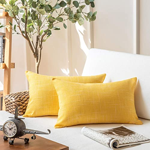 2021 Phantoscope Throw Pillow sale Cover Soft Textured Lined Burlap Cushion Covers Pillowcase for Home Decor Car Sofa Couch Pack of 2 Yellow 12 x 20 inches 30 x 50 online cm online