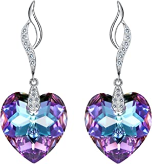 EleQueen 925 Sterling Silver CZ Love Heart Leaf Ribbon Drop Earrings Made with Swarovski Crystals