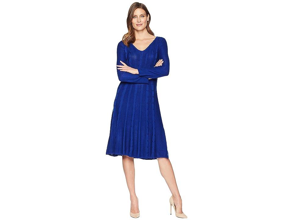 Nine West V-Neck Neck Fit Flare Cable Knit Dress (Royal Blue) Women
