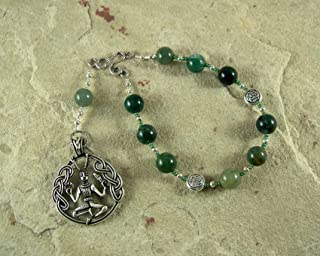 Cernunnos (Kernunnos) Pocket Prayer Beads in Moss Agate: Gaulish Celtic God of Nature and Wild Beasts