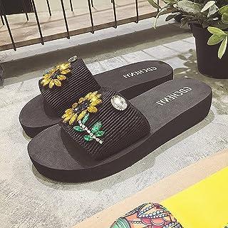 女性の花サンダル夏のフラットボトムスリッパノンススリップスリッパ学生のビーチの靴 ( 色 : イエロー いえろ゜ , サイズ さいず : US:7\UK:6\EUR:39 )