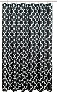 Biscaynebay Textured Fabric Shower Curtains 72 Inches by 72 Inches, Black Morocco Pearl Printed Bathroom Curtains Machine Washable