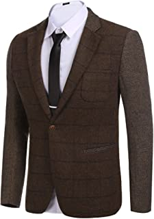 Men's Elegant Regular Fit One Button Plaid Tweed Dress Suit Blazer Jacket