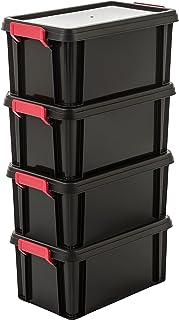 Amazon Basics 102785 Set de 4 boîtes de Rangement Multi Box 6 L, Plastique, Noir, 6 Litres
