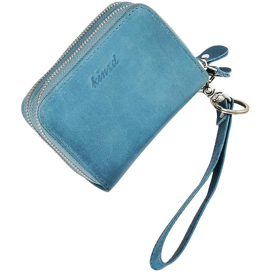 かすれた豪華な発送クレジットカードケース 本革 ジャバラ 大容量 ハンドストラップ付き メンズ レディース通用 財布