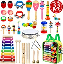 TAIMASI Kids Musical Instruments, 33PCS 18 Types Wooden Percussion Instruments Tambourine Xylophone Toys for Kids Children, Preschool Education Early Learning Musical Toy for Boys and Girls
