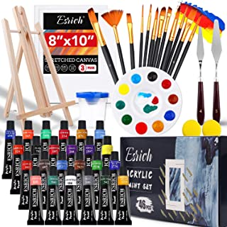 Acrylic Paint Set,46 Piece Professional Painting Supplies with Paint Brushes, Acrylic Paint, Easel, Canvases, Palette, Pai...