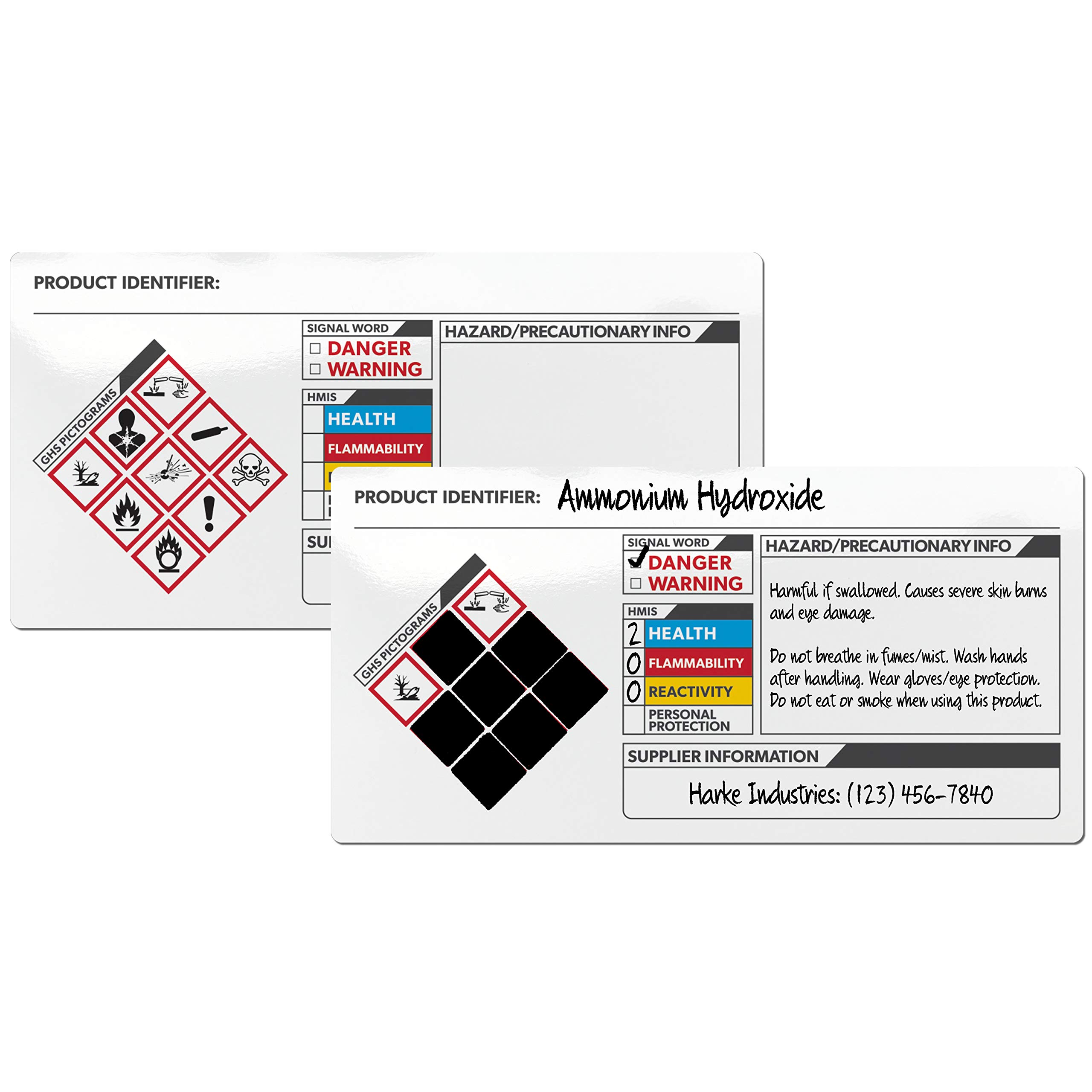 Secondary Container Labels 100 Labels per Roll GHS Globally Harmonized System 3.5 x 2.5 Inches Glossy Finish Adhesive
