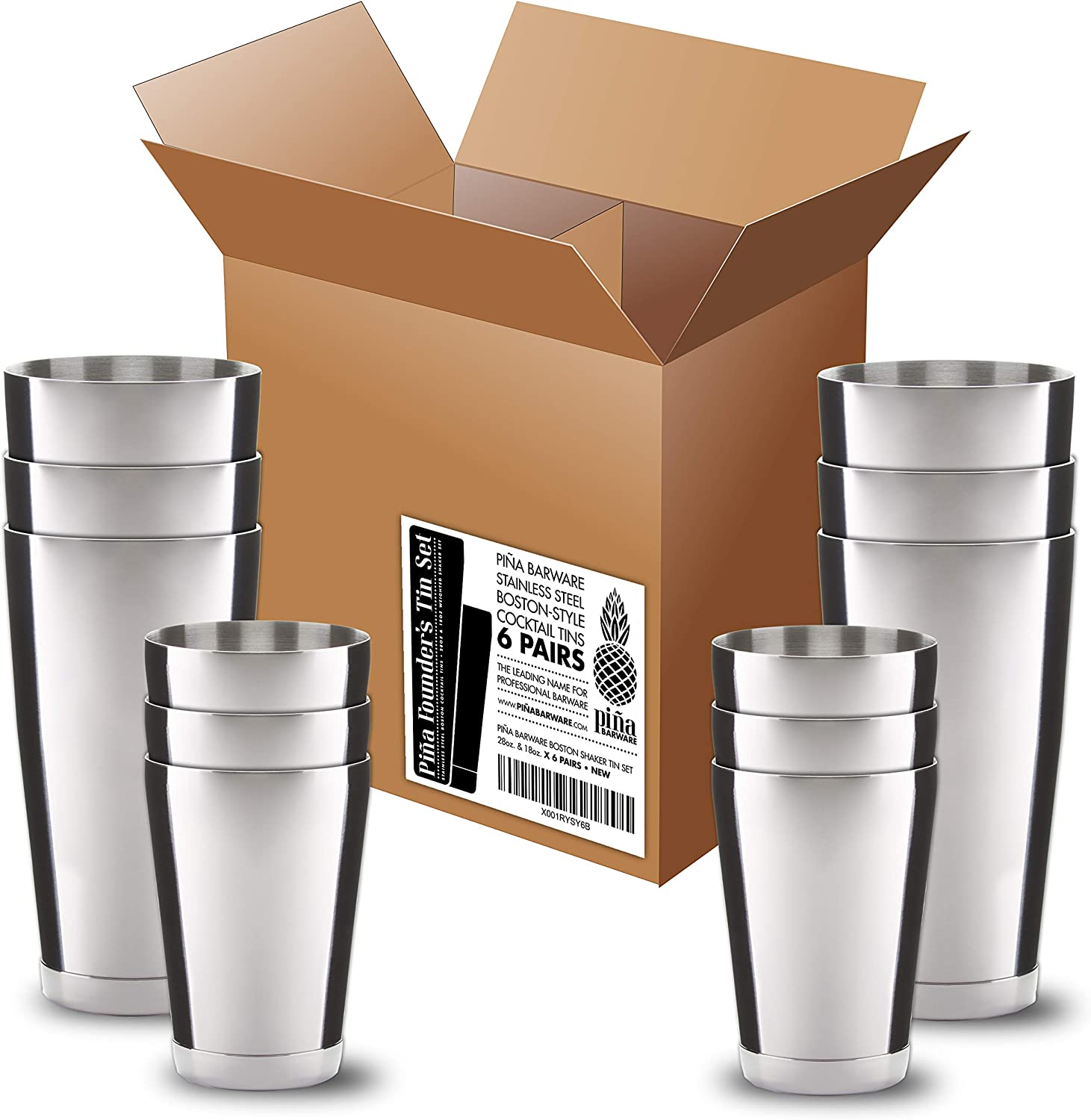 Pi?a Barware Stainless Steel Commercial Bar Boston Shaker Tin Set - 28oz. & 18oz. (6 Pairs Commercial Bar Pack)