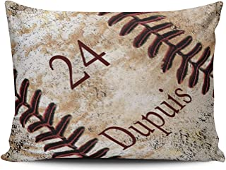 SALLEING Custom Royal Modern Decors Jersey Number and Name on Vintage Baseball Decorative Pillowcase Pillowslip Throw Pillow Case Cover Zippered One Side Printed 12x20 Inches