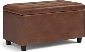 SIMPLIHOME Cosmopolitan 34 inch Wide Rectangle Lift Top Storage Ottoman in Upholstered Distressed Saddle Brown Tufted Faux Leather, Footrest Stool, Coffee Table for Living Room, Bedroom and Kids Room