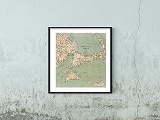 Map: Cape Cod & Martha's Vineyard & Nantucket 1909 Regional   Historic Vintage Reprint   Size: 22x24