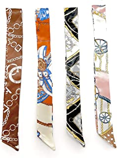 Willsea Purse Scarfs for Handbags Handles Wrap Ribbon, Head Hairbands for Women Girl Decoration, Set-4 Pack Chain and Carr...