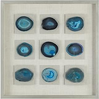 MY SWANKY HOME Blue Agate Stone Slice Wall Art | Mosaic Natural Shadow Box Slab Abstract Deep