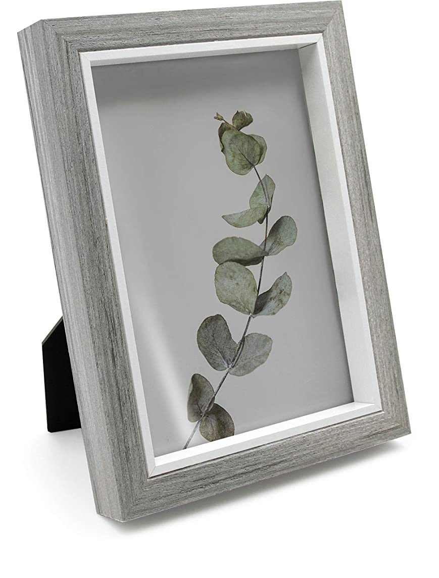 Afuly Gray Picture Frame 5x7 Deep Wood Photo Frames with White Thin Liner for Freestanding and Wall Hanging