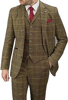 Cavani Albert 3 Piece Suits Check Tweed Regular Fit Blazer Brown Check