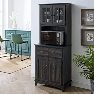Home Source Charcoal Microwave Storage Stand with Double Door Top and Bottom Cabinets