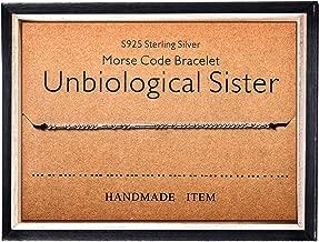 Morse Code Bracelet 925 Sterling Silver Beads on Silk Cord Secret Message Unbiological sister bracelet Gift Jewelry for her