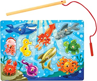 Melissa & Doug Magnetic Wooden Fishing Game (10 Wooden Ocean Animal Magnets, 1 Fishing Pole, Great Gift for Girls and Boys - Best for 3, 4, and 5 Year Olds)