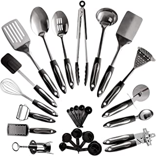 25-Piece Stainless Steel Kitchen Utensil Set | Non-Stick Cooking Gadgets and Tools Kit | Durable Dishwasher-Safe Cookware ...