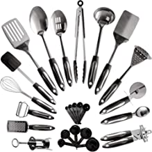 25-Piece Stainless Steel Kitchen Utensil Set | Non-Stick Cooking Gadgets and Tools Kit | Durable Dishwasher-Safe Cookware Set | Kitchenware Gift Idea, Best New Apartment Essentials