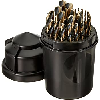 Black and Gold Finish Pack of 12 High Speed Steel Wire Size 35 135-Degree Split Point Straight Shank Cle-Line C18088 Heavy Duty Jobber Length Drill